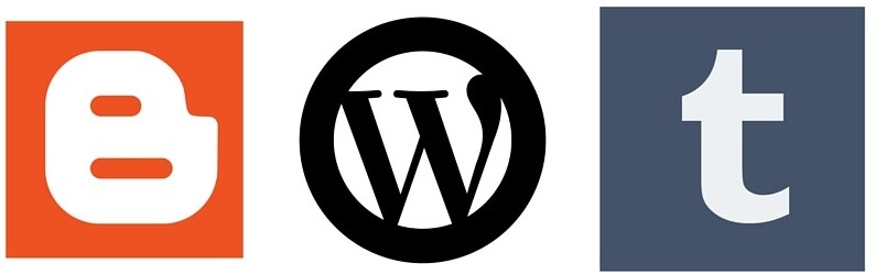 blogger, tumblr, wordpress logos